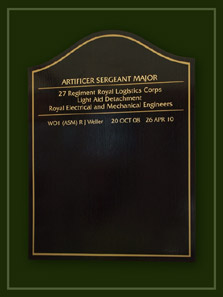 Gold lettering on dark oak listing artificer sergeant majors of the 27th Royal Logistic Corps.
