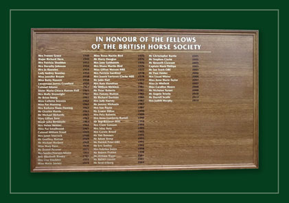 Large oak framed board listing fellows of the BHS, British Horse Society