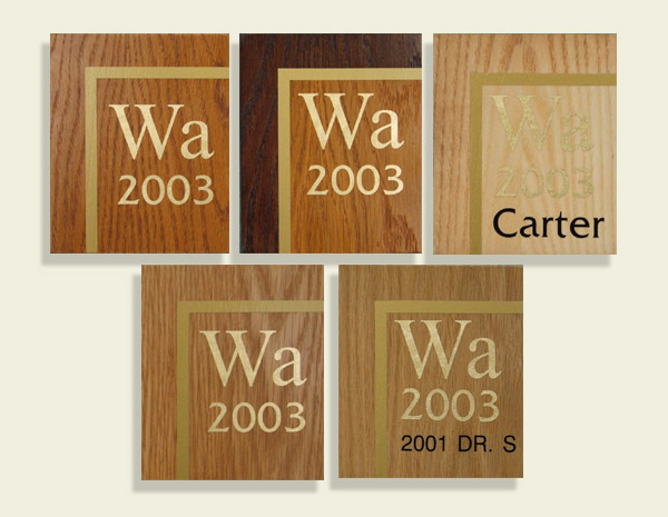 Examples of woodstain colours on oak and ash