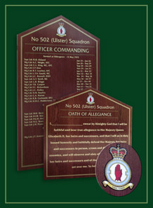 Oath of alleigance board at the 502 Ulster Squadron Headquarters.