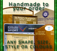 Photo montage displaying honor boards made to any size, shape or color