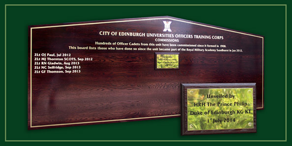 Commissioned officers honours board in Edinburgh