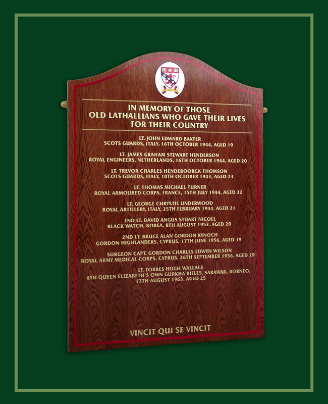 Red oak honours board in memory of those who gave there lives in wartime conflict from Lathallan School in Scotland.