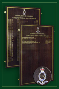 Two Oak panels listing the 1st regiments commanding officers and honorary colonels of the Royal Horse Artillery.