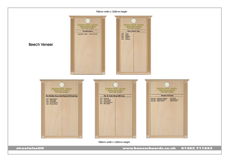 Client visual produced for Sherborne Prep School in Qatar showing five beech honour boards