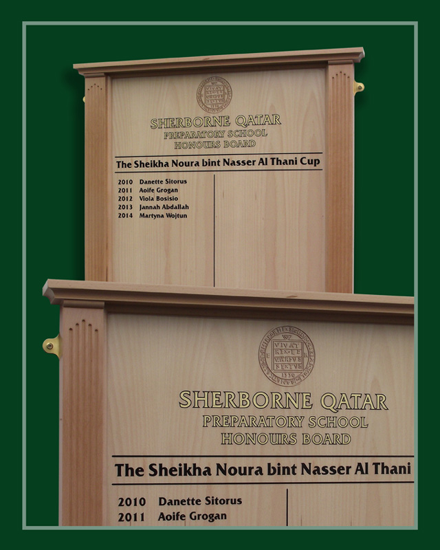 A solid beech honours boards handmade for Sherborne Preparatory school in Qatar