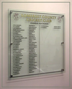 Perspex honours board at Somerset Cricket Club with the names of overseas test players