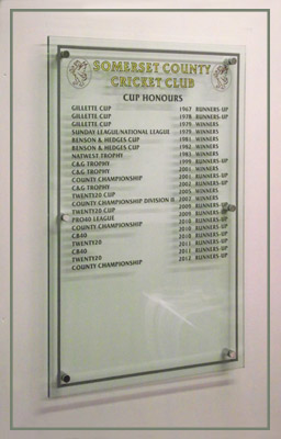 Somerset cup honours shown on a clear acrylic panel