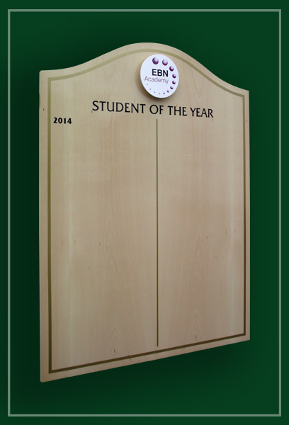 A beech honours board with a hill shaped top made for EBN Academy in Yardley
