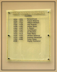 Photo of Yate Town Council's Head Clerks honours board.
