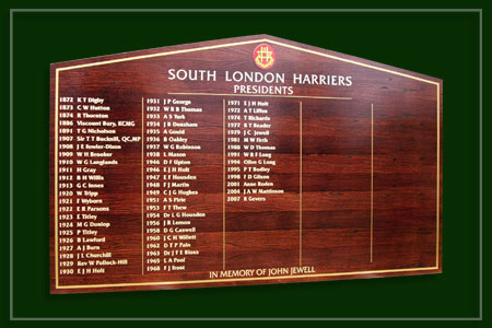 A visual prepared for South London Harriers athletics club