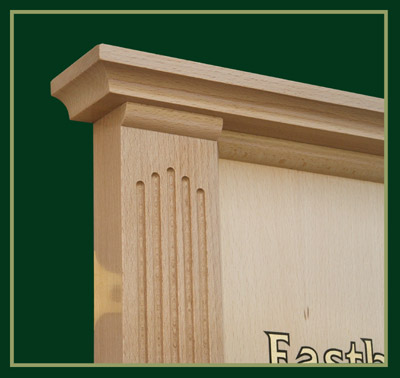 Beech wood is used for the fluted columns on this board