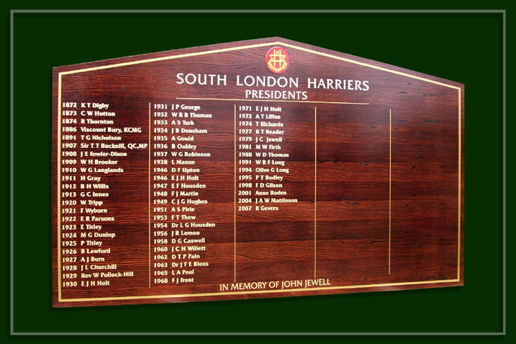 A finished oak club presidents honours board produced for the South London Harriers athletics club