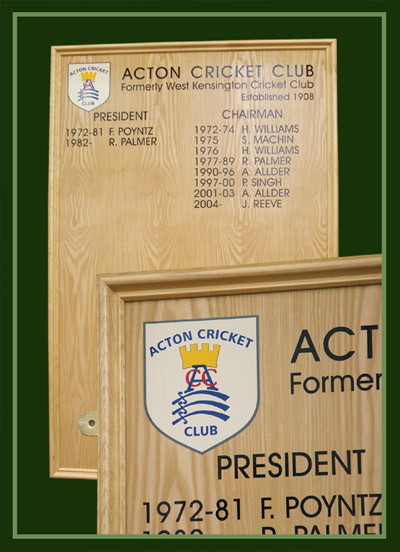 Acton cricket club presidents board in ash