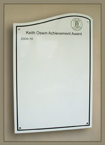 Oadby Owls Football Club record the names of the winners of the Keith Oswin Achievement award on this board