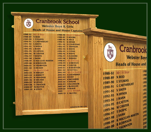light golden oak honours board with house heads and house captains names made for Cranbrook School in Kent