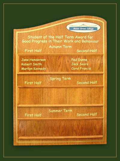 Manor Green school half term awards board