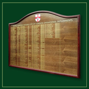 Deployment honour board for the City of London Royal Marines.