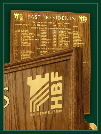 A standard oak moulding used to edge this presidents plaque