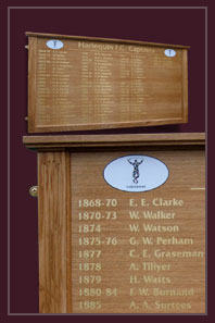 Captains of the rugby team are displayed on this light oak honours board in Twickenham
