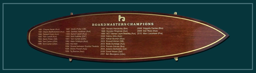 Picture of a surf board shaped honours board to show the names of surfing champions in Cornwall