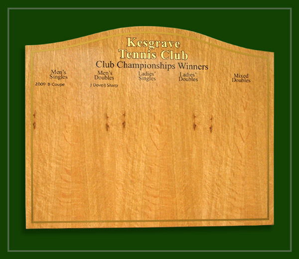 Kesgrave Tennis Club's oak honours board