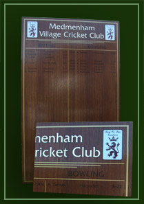 Best cricket feats, including fifers and centuries are recorded on this board